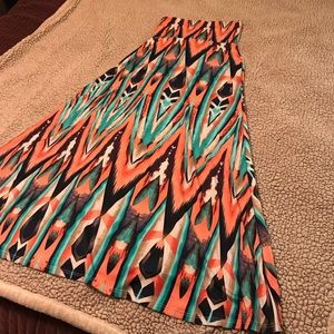 Coral, Cream, & Turquoise maxi skirt